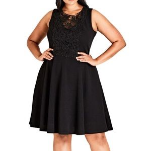 NWT City Chic Black Motif Skater Dress